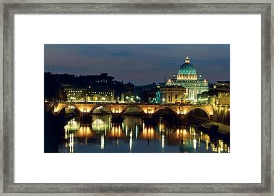 Vatican Skyline  View Of St Peters Basilica In The Evening Framed Print by Italian School