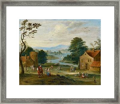 View Of A Village By A River Framed Print by Karel Breydel