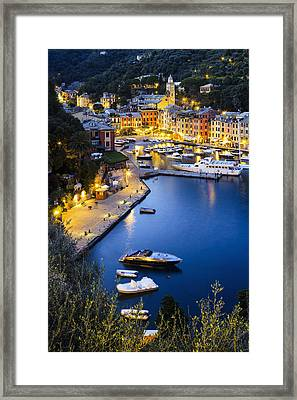 View Of The Harbour At Dusk  Portofino Framed Print by Yves Marcoux