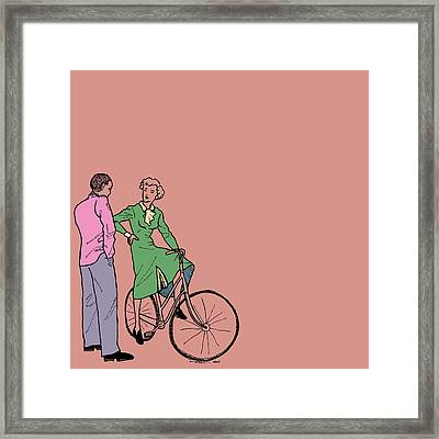 Vintage Bike Couple Framed Print by Karl Addison