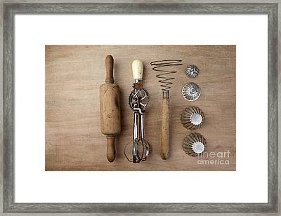 Vintage Cooking Utensils Framed Print by Nailia Schwarz