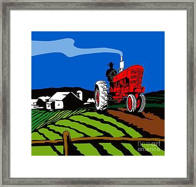 Vintage Tractor Retro Framed Print by Aloysius Patrimonio