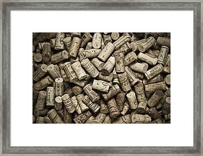Vintage Wine Corks Framed Print by Frank Tschakert