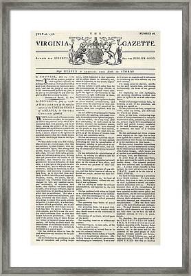 Virginia Gazette, 1776 Framed Print by Granger