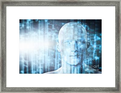 Virtual Reality Projection. Future Science With Modern Technology, Artificial Intelligence Framed Print by Michal Bednarek