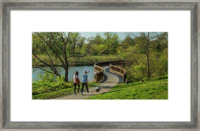 Walking The Savanna Boardwalk Trail In Forest Park Framed Print by Garry McMichael