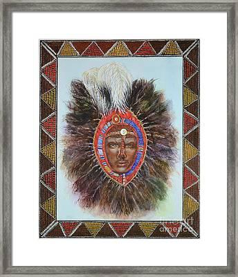 Warrior In Beaded Ostrich Headdress Framed Print by Carol J  South