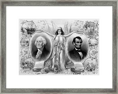 Washington And Lincoln Framed Print by War Is Hell Store