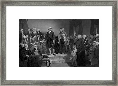 Washington Delivering His Inaugural Address Framed Print by War Is Hell Store