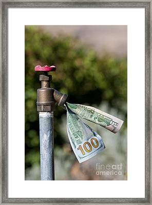 Water Spigot With Money Flowing Out Framed Print by William H. Mullins