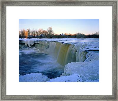 Waterfall With Bluish Icicles Framed Print by Romeo Koitmae