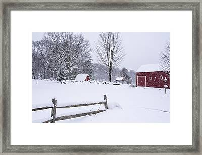 Wayside Inn Grist Mill Covered In Snow Storm Framed Print by Toby McGuire