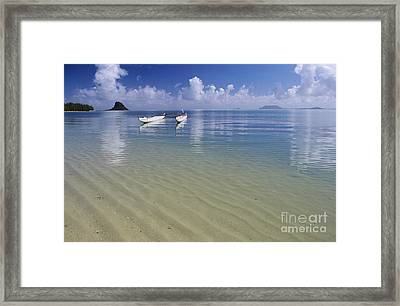 White Double Hull Canoe Framed Print by Joss - Printscapes