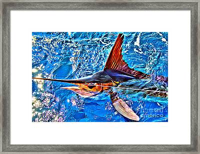 White Marlin Framed Print by Carey Chen