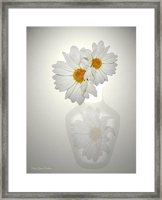 White On White Daisies Framed Print by Joyce Dickens