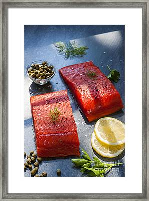 Wild Salmon Steaks Framed Print by Elena Elisseeva