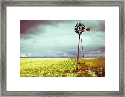 Windmill Against Autumn Sky Framed Print by Gordon Wood