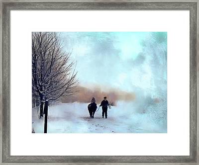 Winter Ride Framed Print by Kathy Bassett
