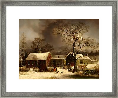 Winter Scene In New Haven Connecticut Framed Print by Mountain Dreams