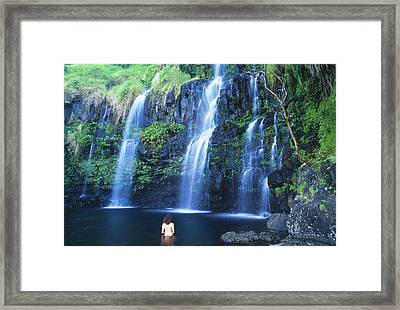 Woman At Waterfall Framed Print by Dave Fleetham - Printscapes