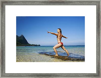 Woman Doing Yoga Framed Print by Kicka Witte - Printscapes