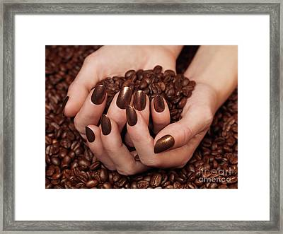 Woman Holding Coffee Beans In Her Hands Framed Print by Oleksiy Maksymenko