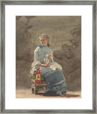 Woman Sewing Framed Print by Winslow Homer