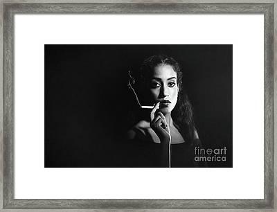 Woman Smoking Framed Print by Amanda Elwell