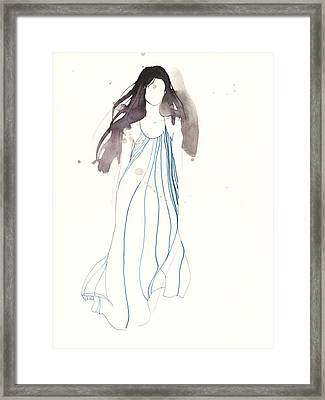 Woman With Dress From Chloe Framed Print by Toril Baekmark