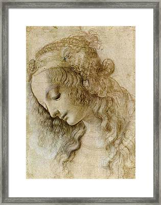 Woman's Head Framed Print by Leonardo da Vinci