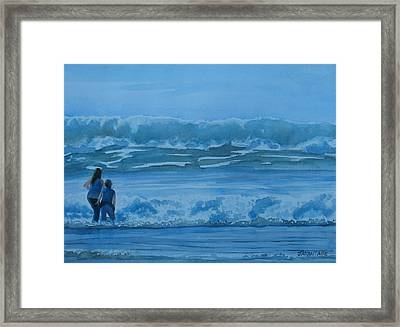 Women In The Surf Framed Print by Jenny Armitage