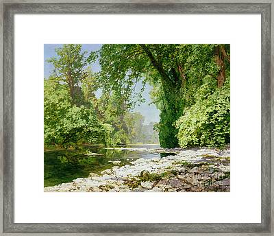 Wooded Riverscape Framed Print by Leopold Rolhaug