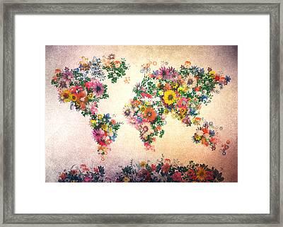 World Map Floral 9 Framed Print by Bekim Art