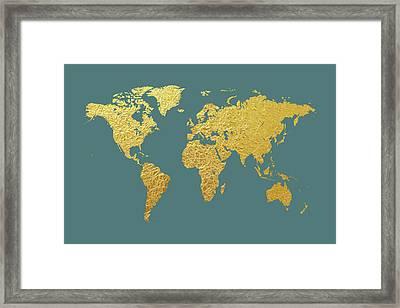 World Map Gold Foil Framed Print by Michael Tompsett