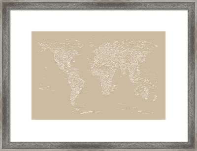 World Map Of Cities Framed Print by Michael Tompsett