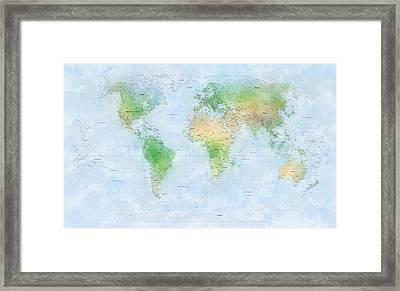 World Map Watercolor Framed Print by Michael Tompsett