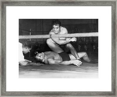 Wrestling Champion Jim Londos Framed Print by Underwood Archives