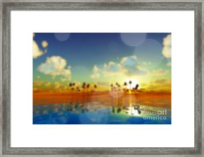 Yellow Sunset Over Tropic Sea Framed Print by Aleksey Tugolukov