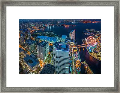 Yokohama, Japan Waterfront Cityscape. Framed Print by Anek Suwannaphoom