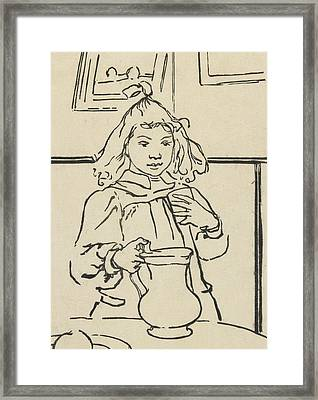 Young Girl With A Pitcher Framed Print by Auguste Lepere