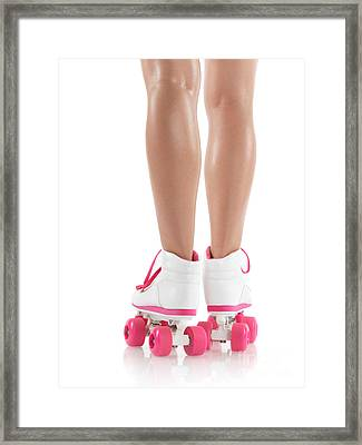 Young Woman Wearing Roller Derby Skates Framed Print by Oleksiy Maksymenko