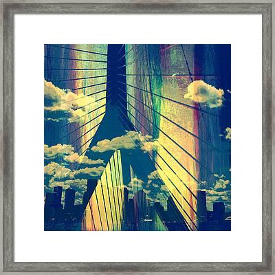 Zakim Bridge Boston V4 Framed Print by Brandi Fitzgerald