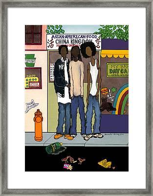 Zee Hoody Boyz Framed Print by Karen-Lee