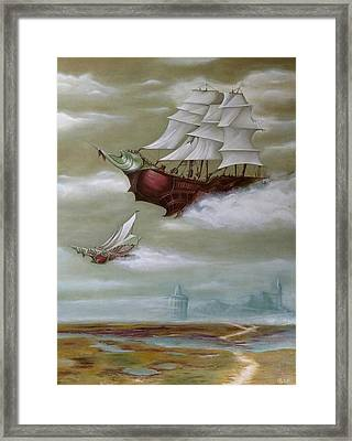 Steampunk Airships Framed Print by Ramona Boehme