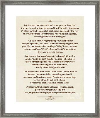 101-  Maya Angelou Framed Print by Joseph Keane