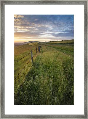 Beautiful Summer Sunset Landscape Steyning Bowl On South Downs  Framed Print by Matthew Gibson