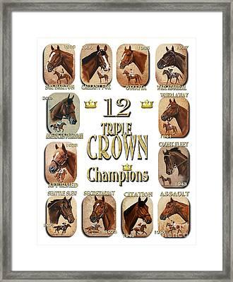 12 Triple Crown Champions Framed Print by Pat DeLong
