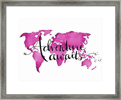 12x16 Adventure Awaits Pink Map Framed Print by Michelle Eshleman