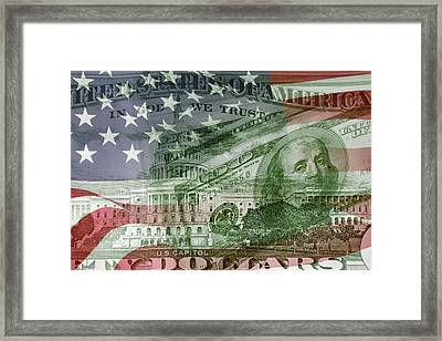 Usa Finance Framed Print by Les Cunliffe