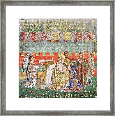 15th Century Tapestry Of The Adoration Framed Print by Vintage Design Pics